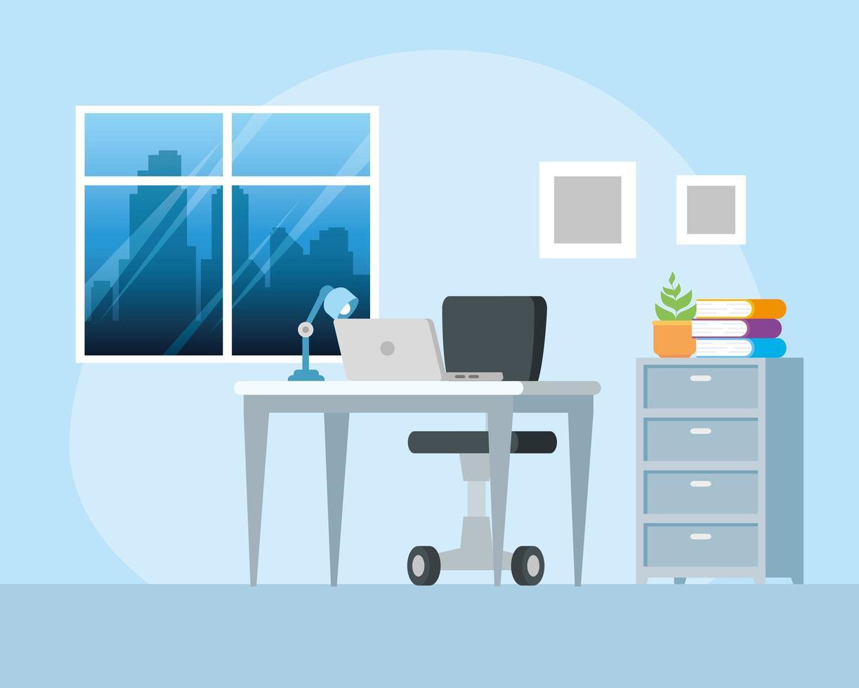 posto di lavoro con sfondo scrivania e laptop vettore