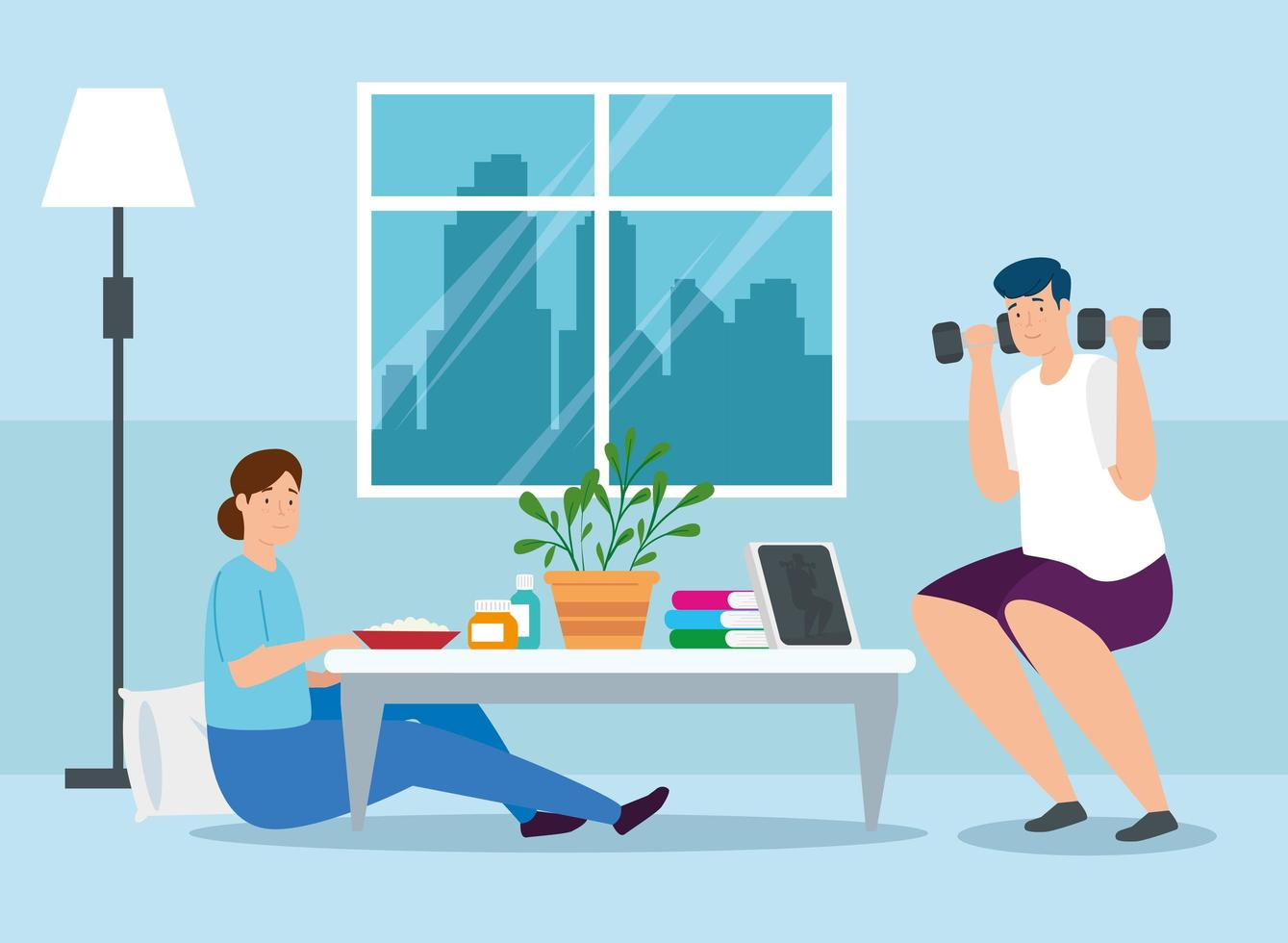 campagna stare a casa con la coppia in soggiorno vettore