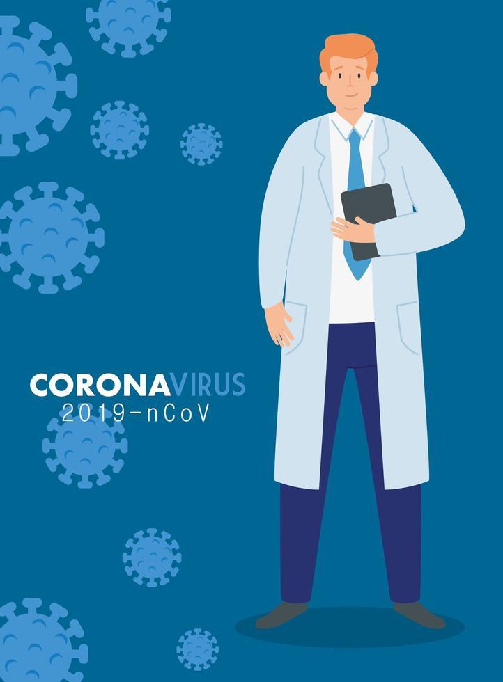 medico nel poster del coronavirus 2019 ncov vettore