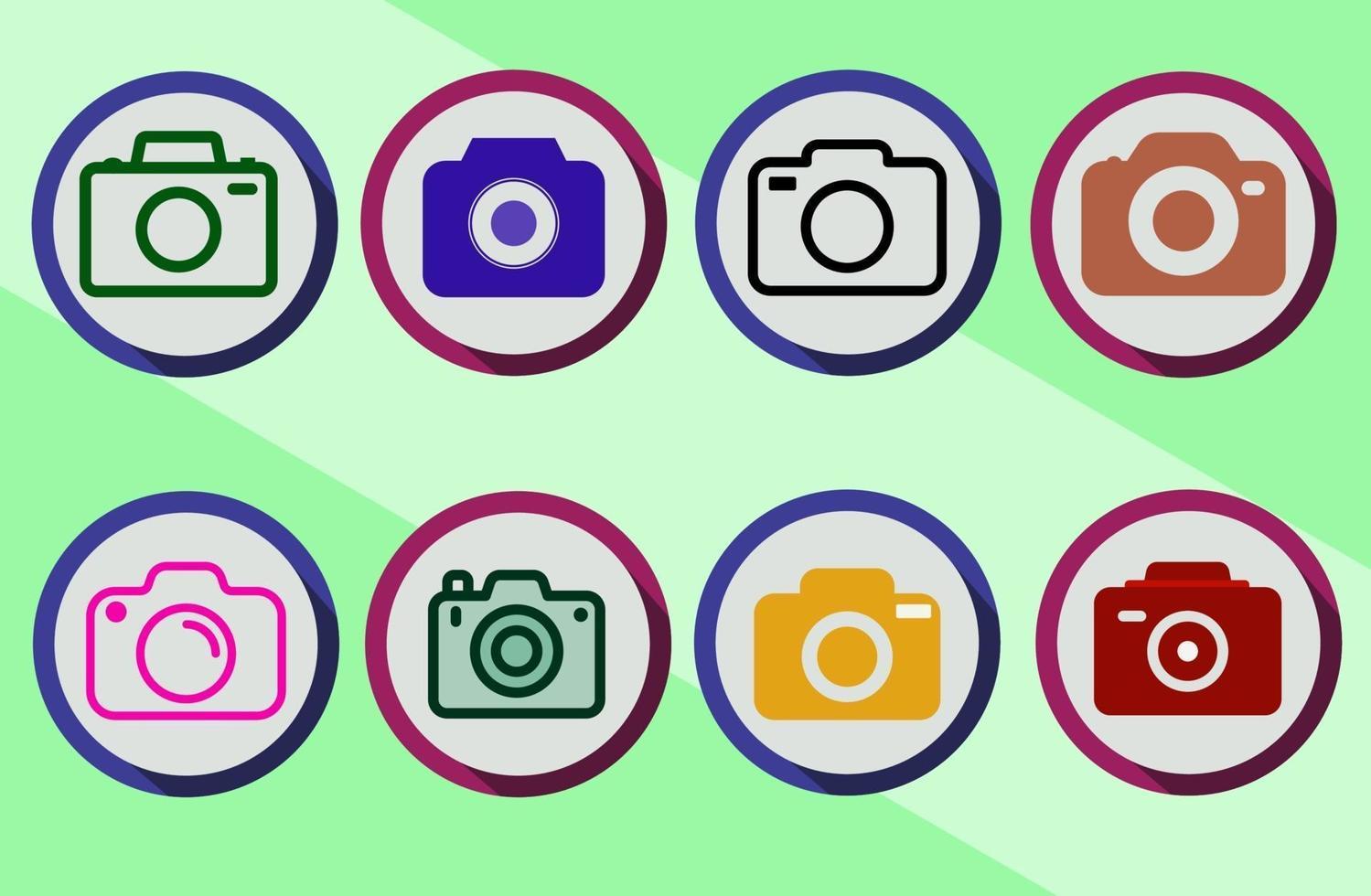 set di icone colorate della fotocamera con stili diversi vettore