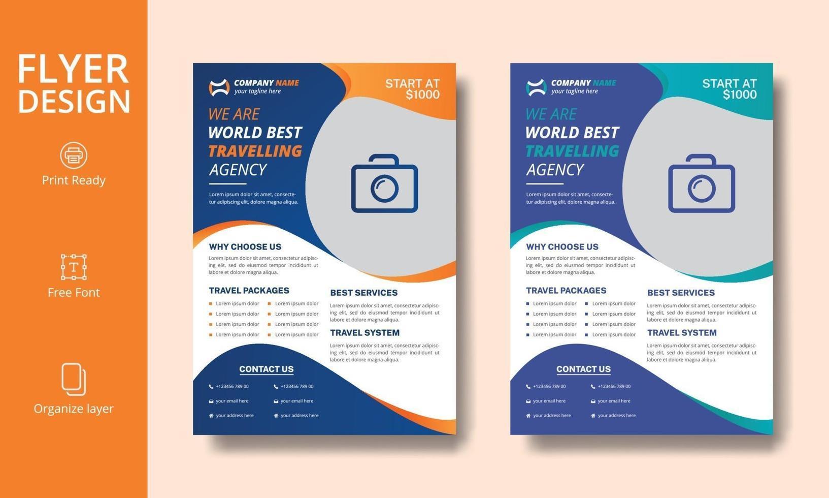 design creativo professionale arancione e blu di volantino per agenzia di viaggi vettore