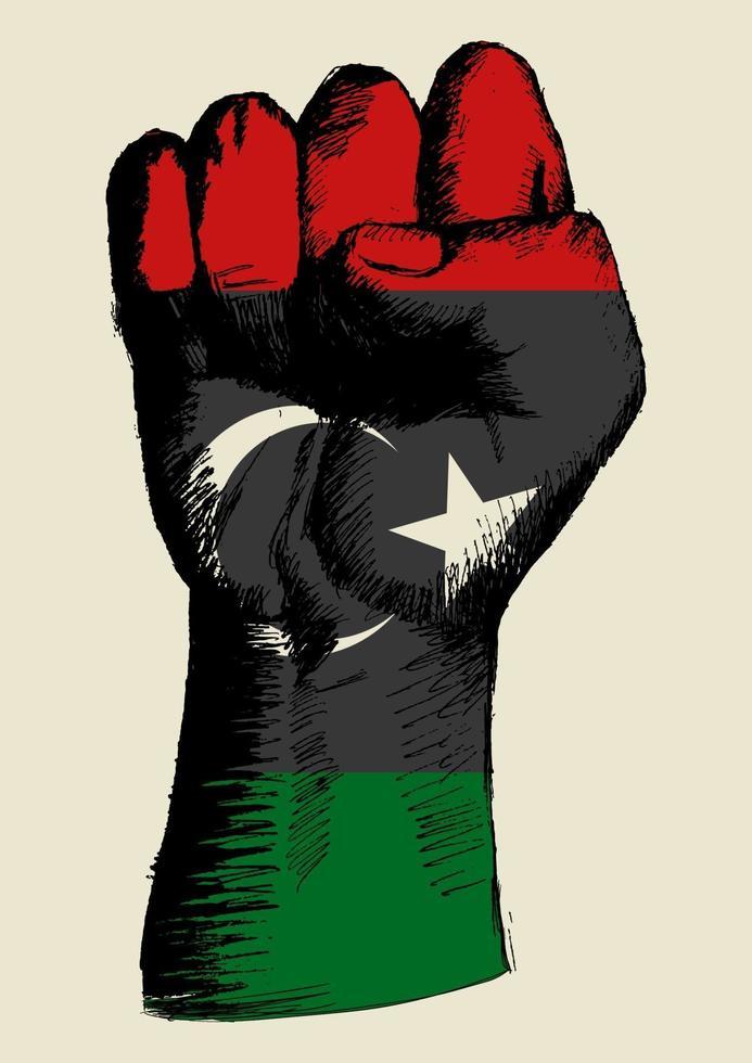 illustrazione di schizzo di un pugno con le insegne della Libia. spirito di una nazione vettore