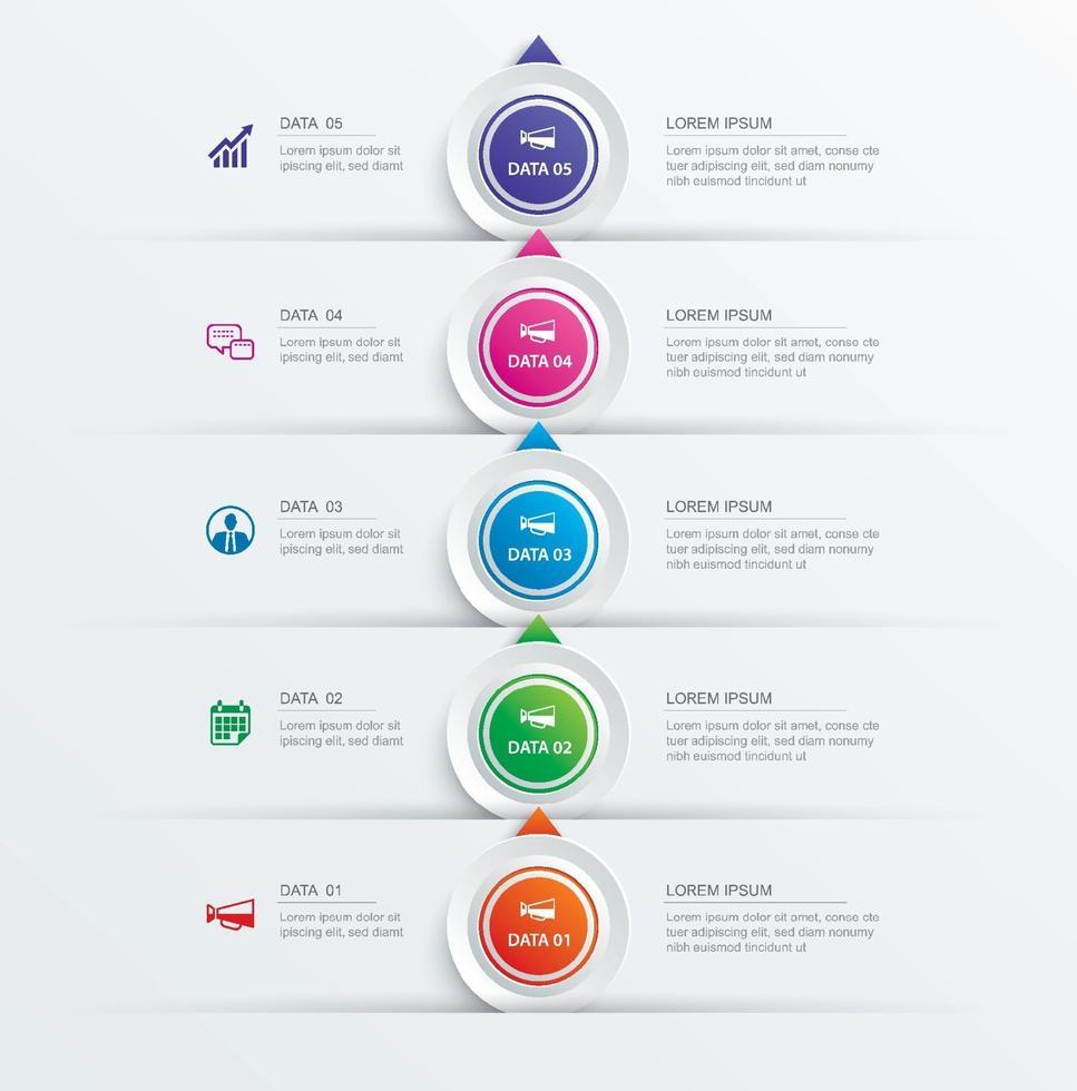 5 cerchio passo infografica con modello astratto timeline. presentazione passo affari sfondo moderno. vettore