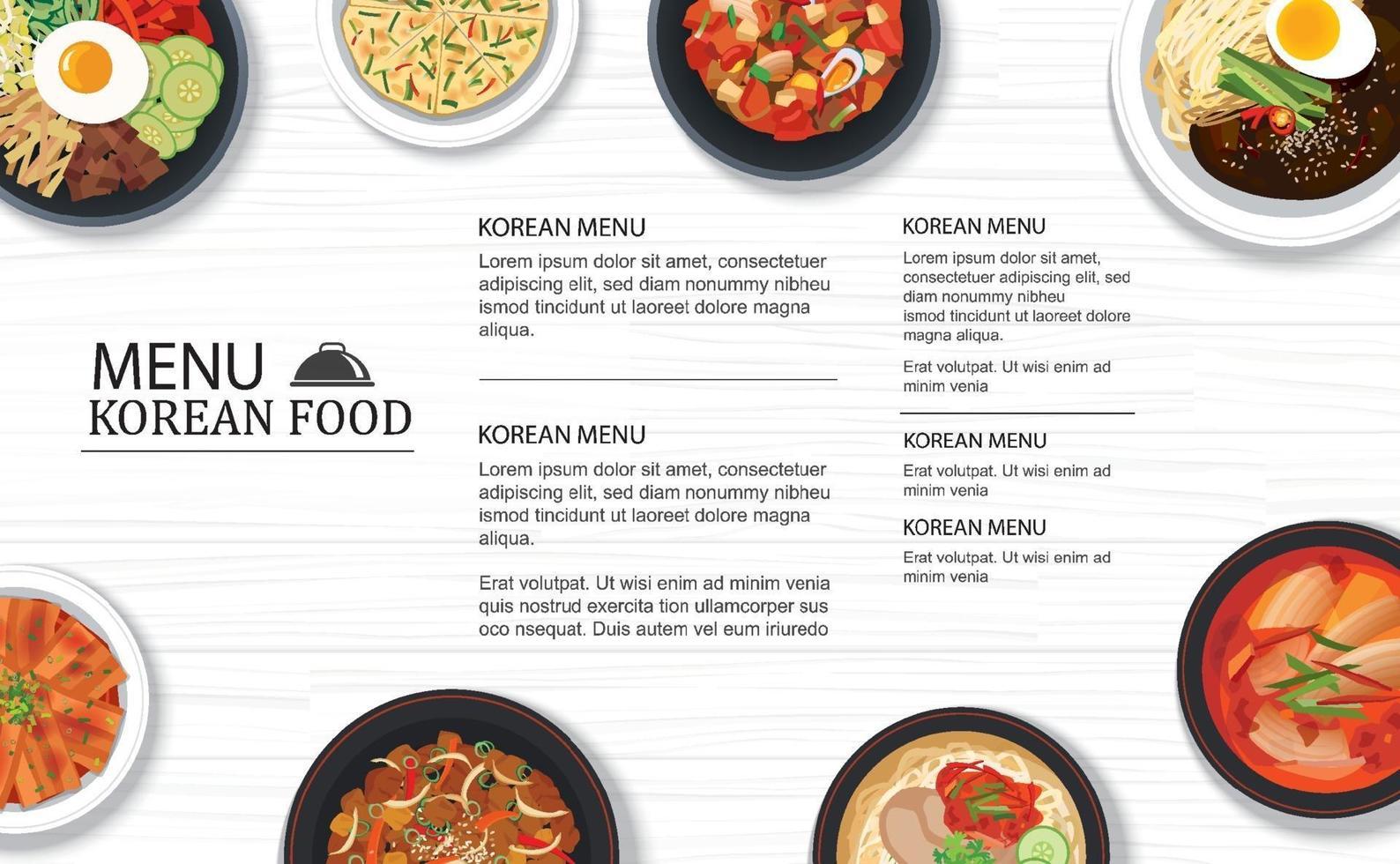 ristorante menu cibo coreano su uno sfondo di modello di piano d'appoggio in legno bianco. utilizzare per poster, stampa, flyer, brochure. vettore