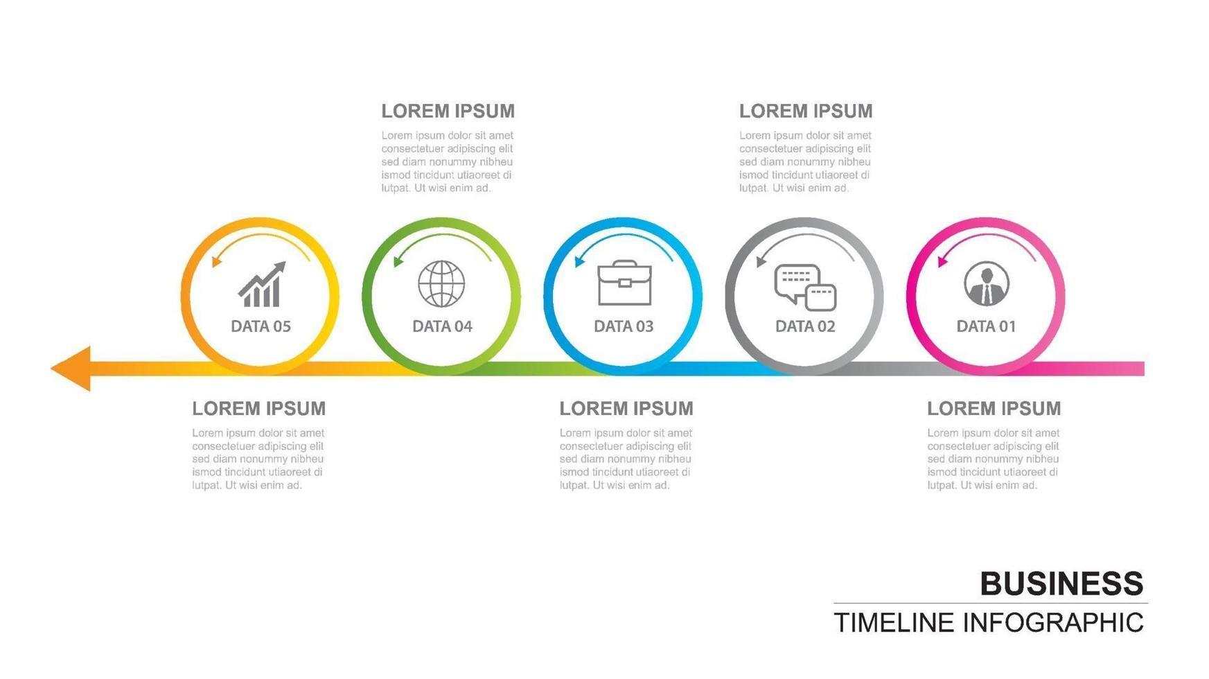 5 cerchio infografica con modello astratto timeline. presentazione passo affari sfondo moderno. vettore
