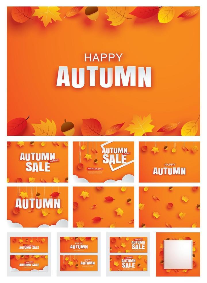 felice autunno autunno impostare lo stile di arte carta invito e vendita con foglie su sfondo arancione. vettore
