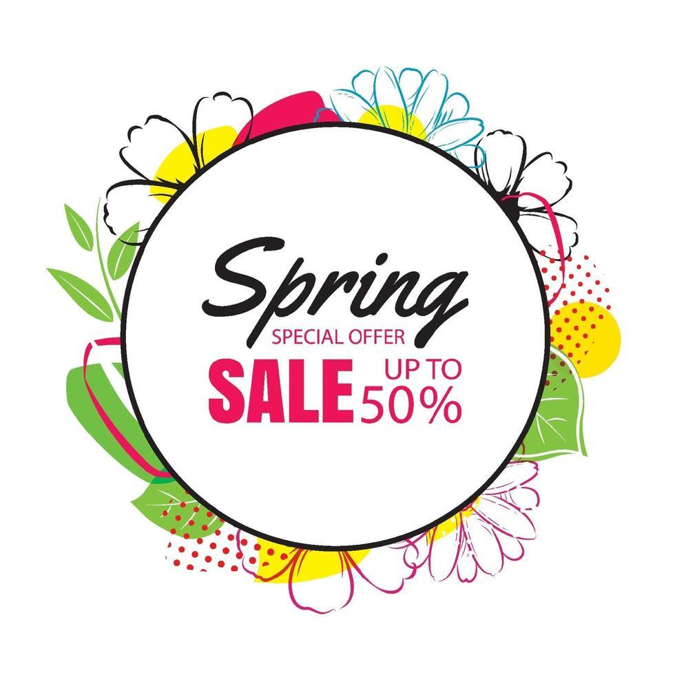 modello di manifesto di vendita di primavera con sfondo di fiori colorati. può essere utilizzato per voucher, carta da parati, volantini, invito, brochure, coupon di sconto. vettore