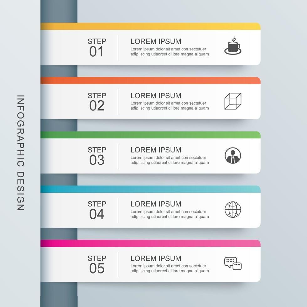 5 modello di indice di carta scheda infografica dati. illustrazione vettoriale sfondo astratto. può essere utilizzato per il layout del flusso di lavoro, passaggio aziendale, banner, web design.