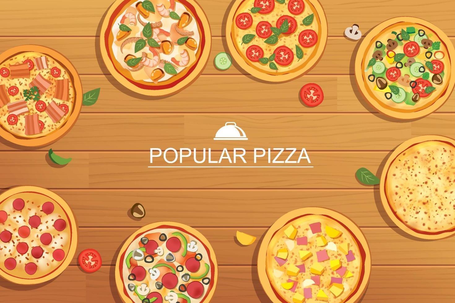 pizza imposta menu diverso su fondo in legno. utilizzare per design, poster, flyer, banner. vettore