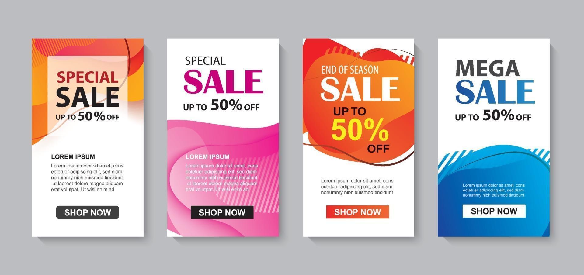 astratto liquido moderno impostato per il modello di banner di vendita. utilizzare per flyer, sconto offerta speciale design, sfondo promozione. vettore