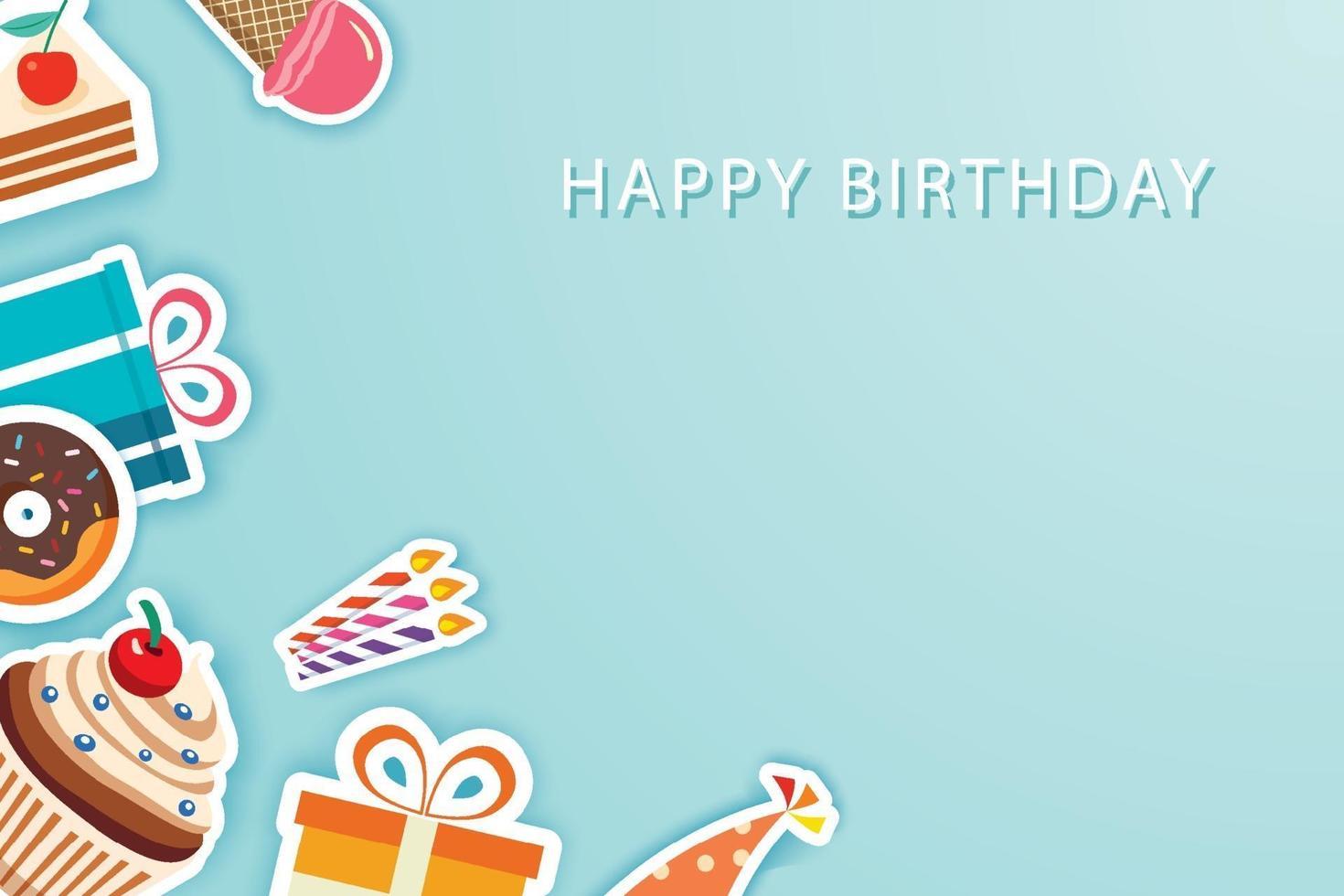 biglietti di auguri festa di buon compleanno e sfondo modello banner con posto per il tuo messaggio. vettore