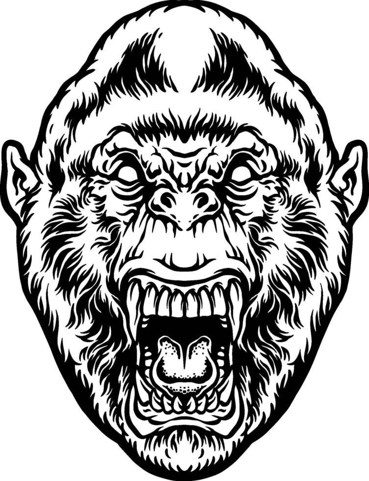 illustrazione testa di gorilla bestia arrabbiata vettore