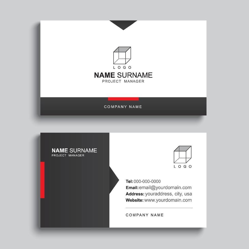 design del modello di stampa minimo biglietto da visita. layout pulito semplice di colore nero e rosso. vettore