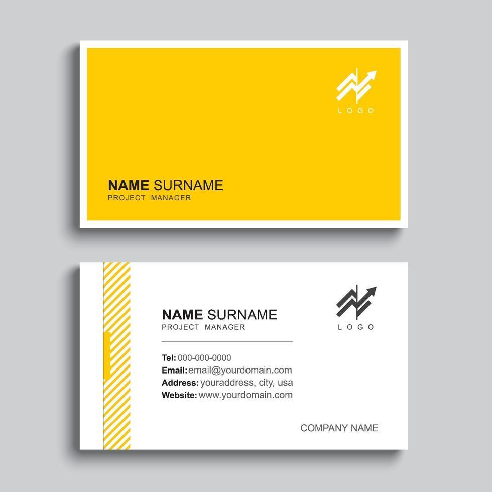 design del modello di stampa minimo biglietto da visita. colore giallo pastello e layout semplice e pulito. vettore