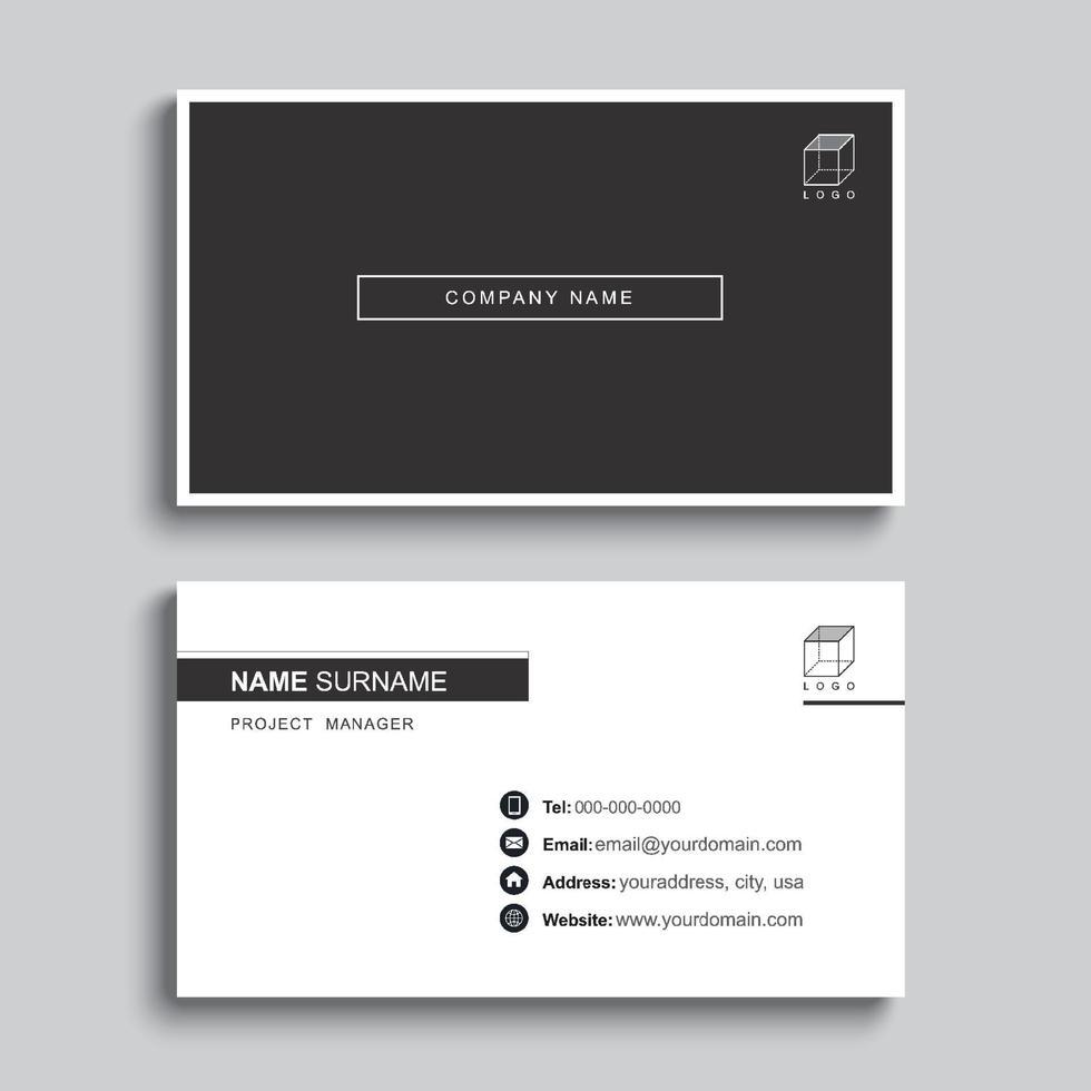 design del modello di stampa minimo biglietto da visita. colore nero e layout semplice e pulito. vettore