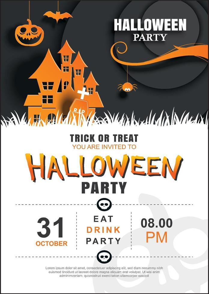 modello di manifesto festa di invito di halloween. utilizzare per biglietto di auguri, flyer, banner, poster, illustrazione vettoriale. vettore