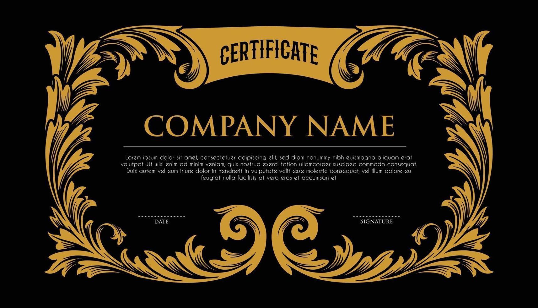 cornice elegante oro certificato vettore
