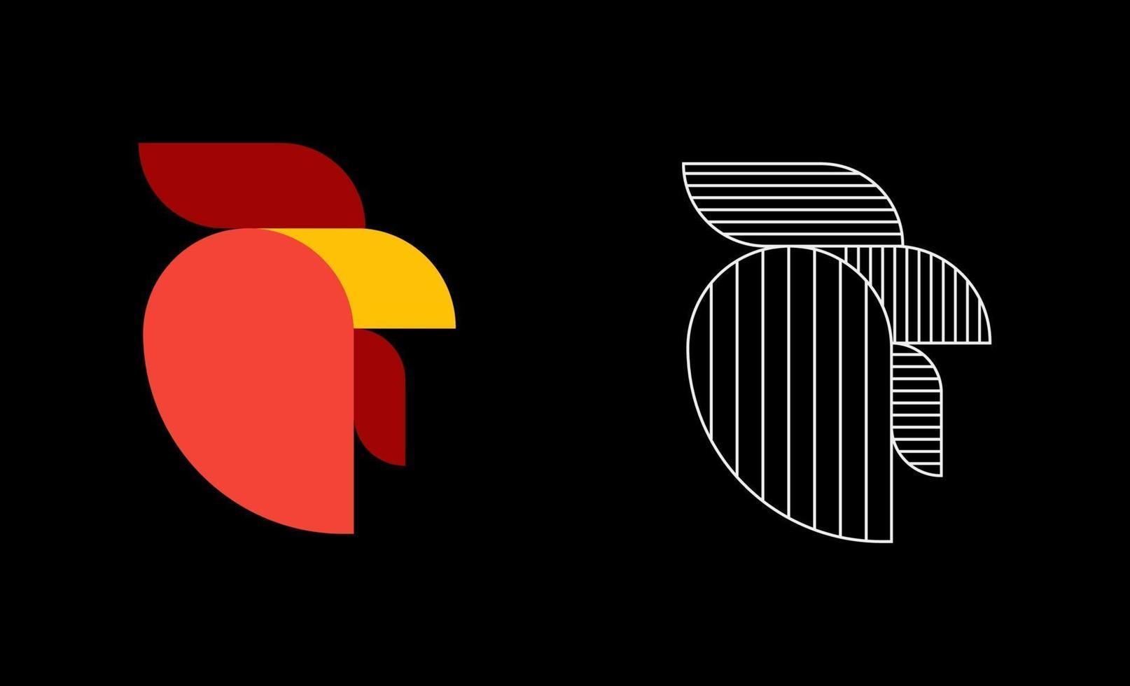 pollo gallo semplice logo design illustrazione vettoriale