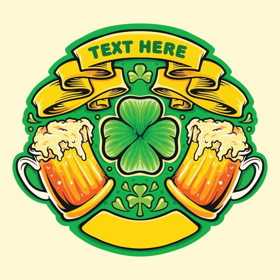due bicchieri di birra acclamano il distintivo del giorno di San Patrizio vettore