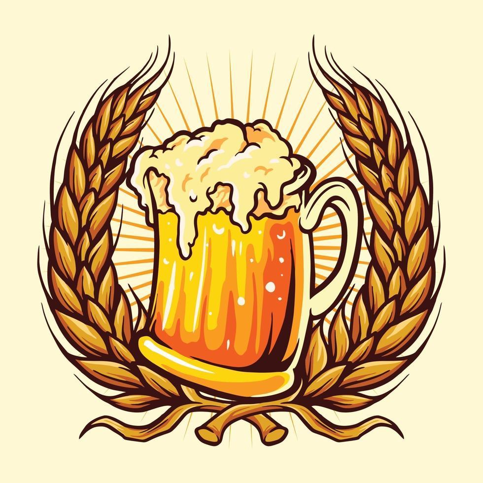 distintivo di bicchieri di birra con grano vettore