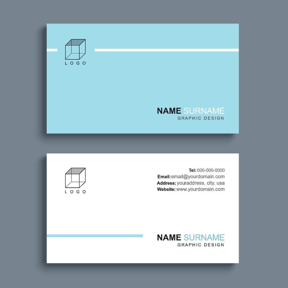design del modello di stampa minimo biglietto da visita. colore pastello blu e layout semplice e pulito. vettore
