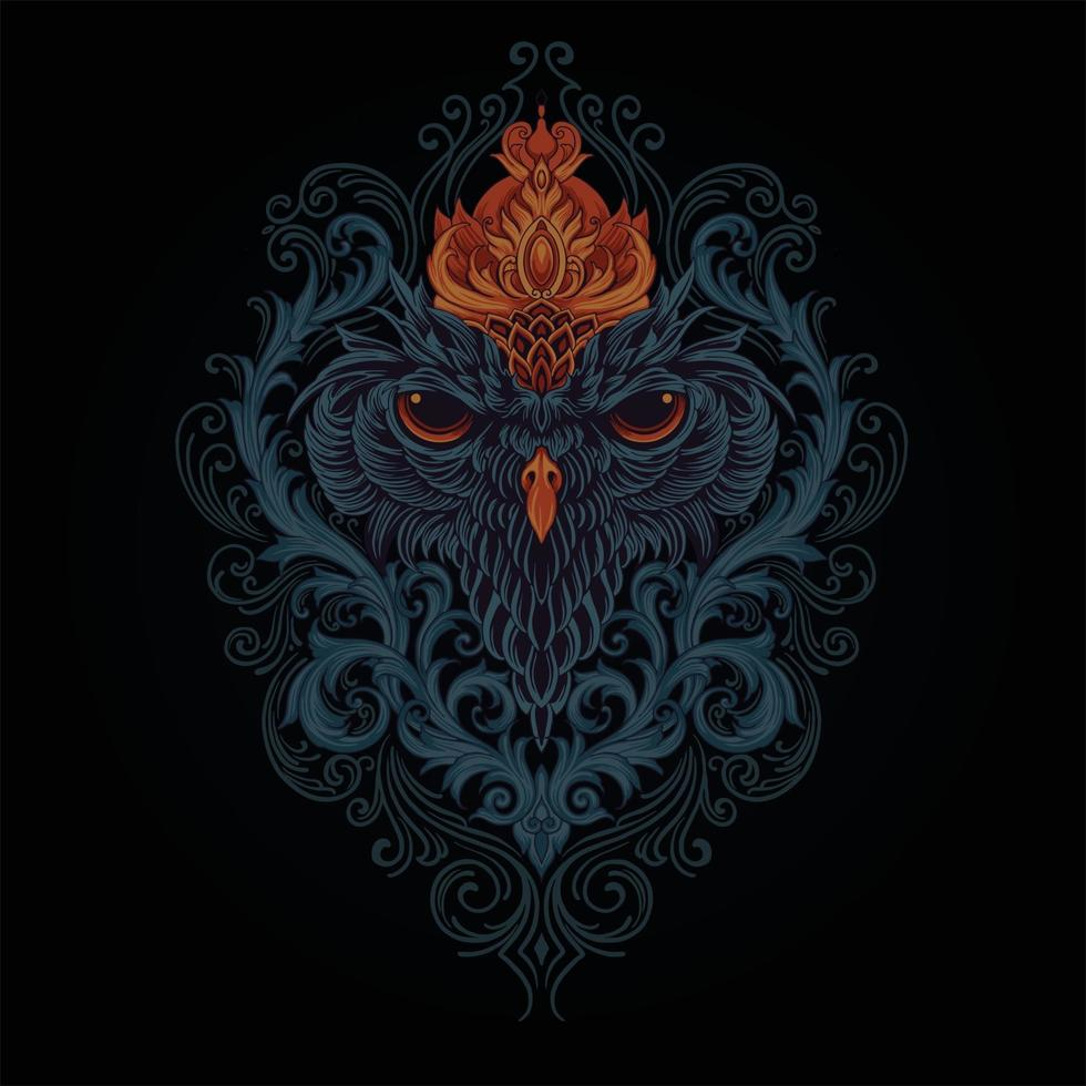 capo re gufo mistico con illustrazione di ornamenti vettore