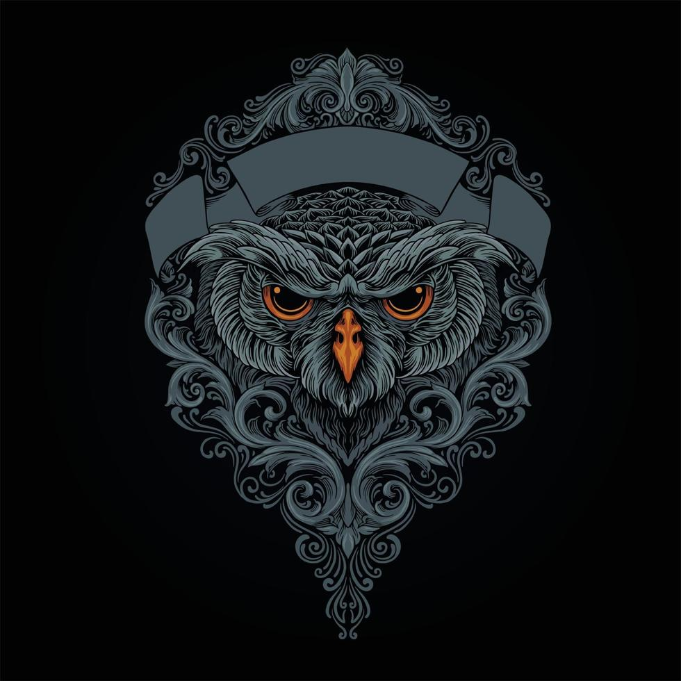 gufo testa mistico con illustrazione di ornamenti vettore