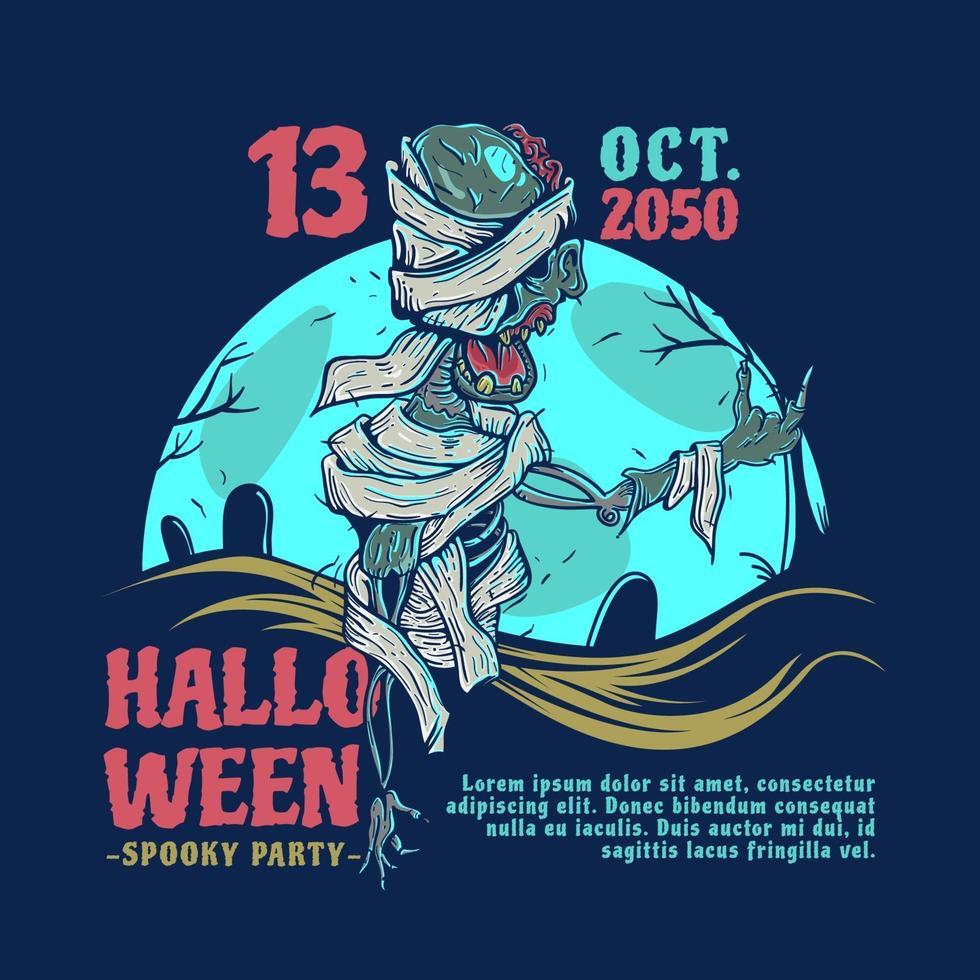 invito a una festa di Halloween con la mummia sotto la luce della luna blu vettore