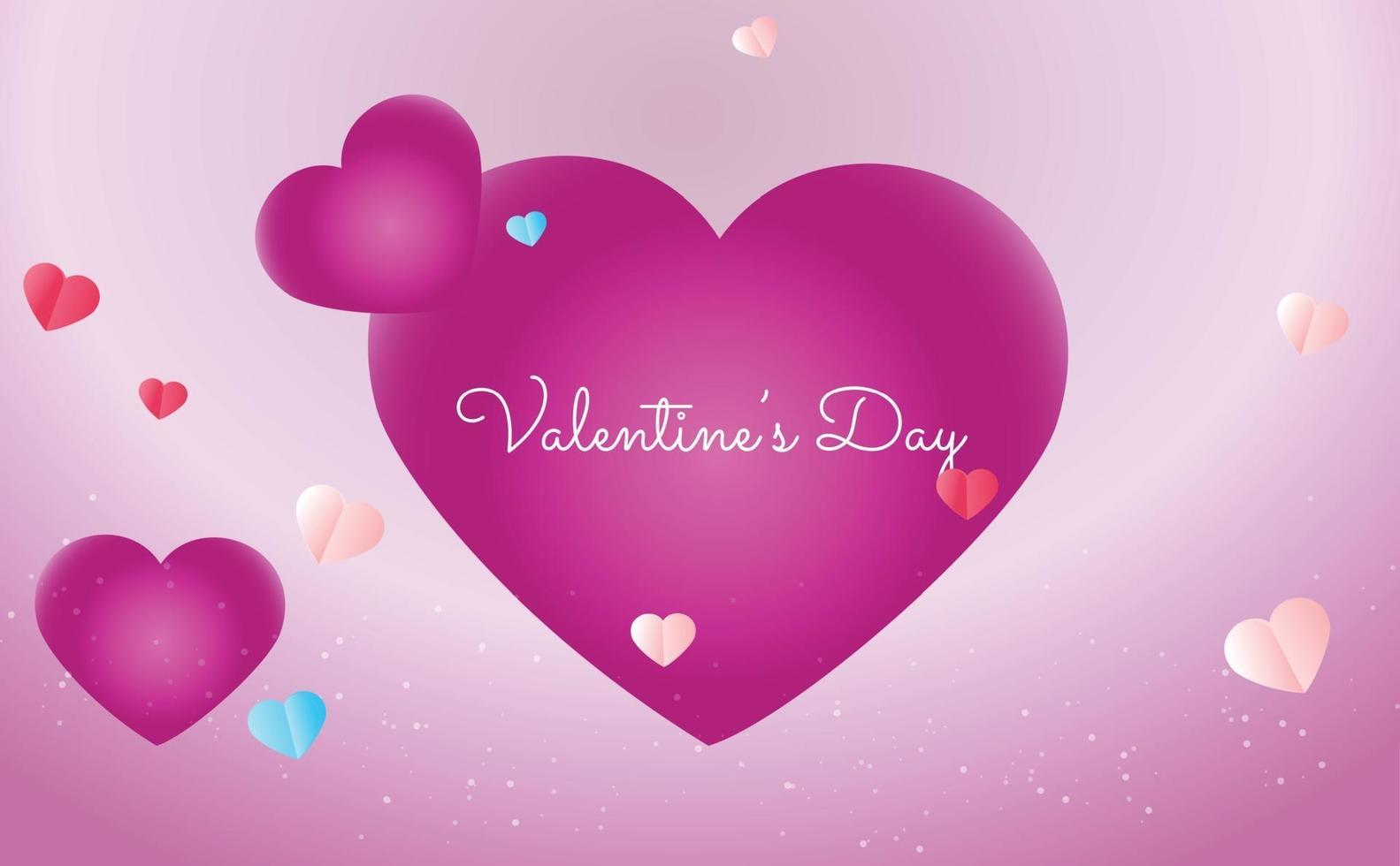 concetto di sfondo di San Valentino in stile carta vettore