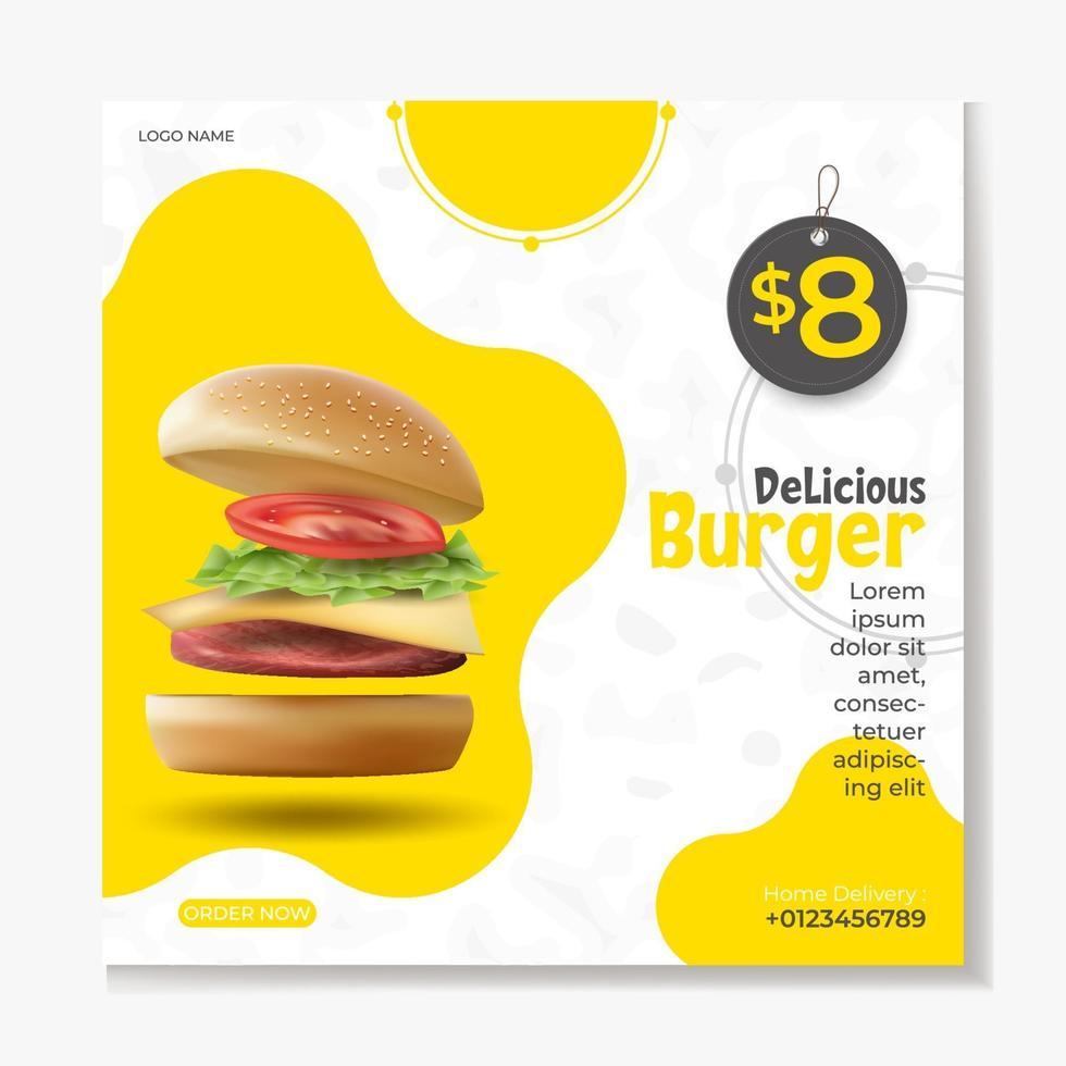 modello di post sui social media di hamburger o fast food vettore