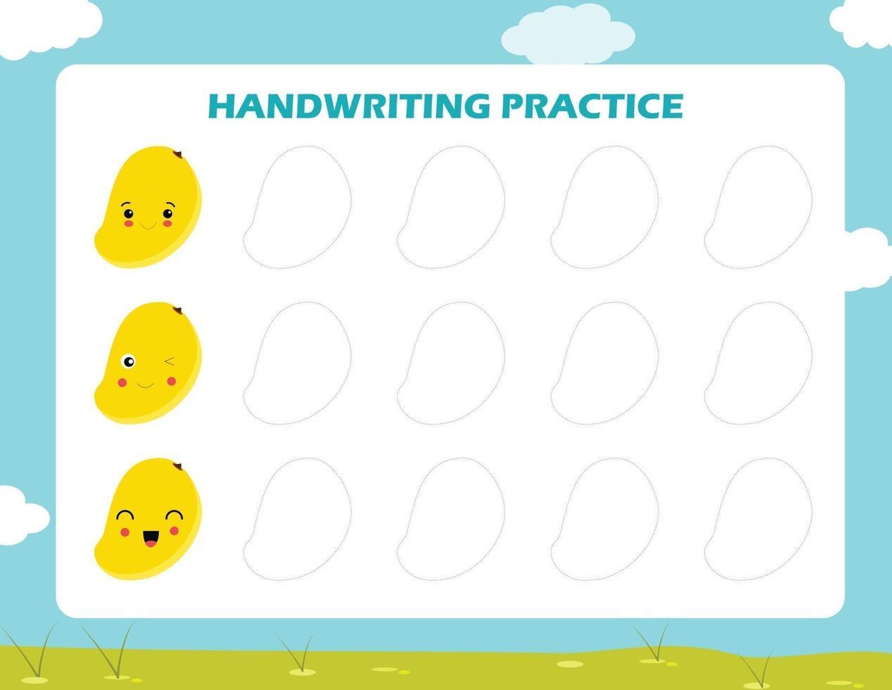 vettore dell'illustrazione del foglio di pratica della scrittura a mano, set di tracciare le forme geometriche attorno al contorno. apprendimento per bambini, compiti di disegno