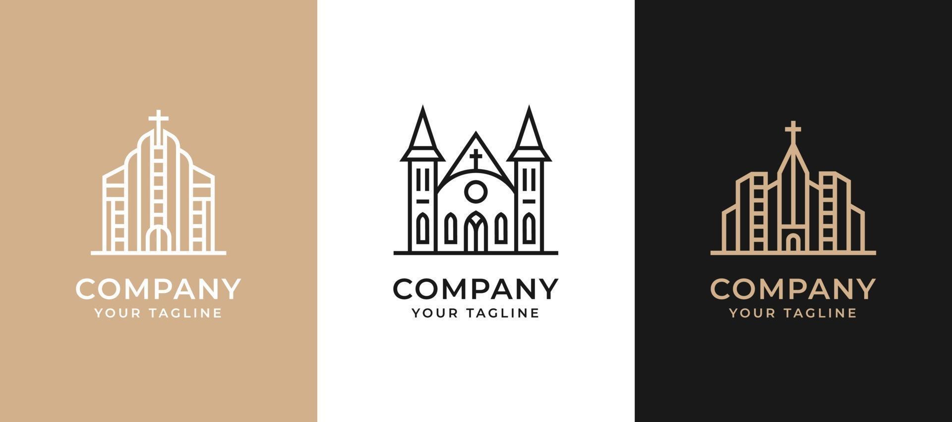 design del logo di edificio minimalista creativo con concept line art. vettore