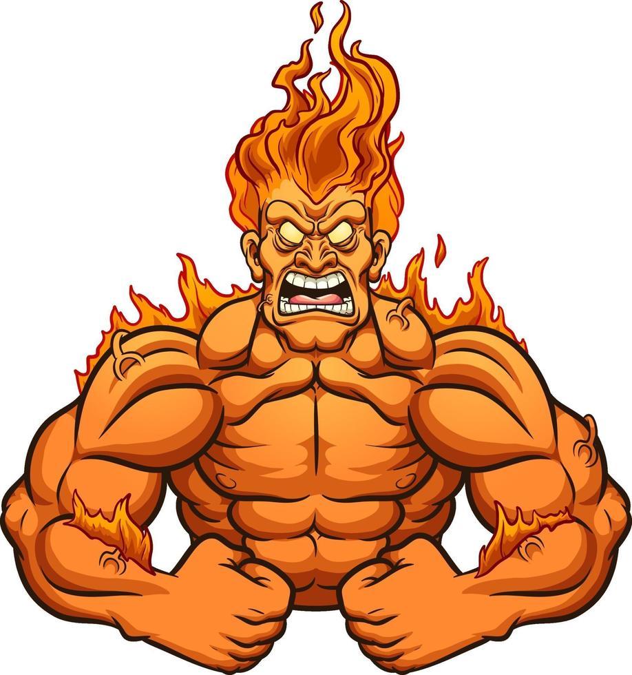 uomo in fiamme vettore