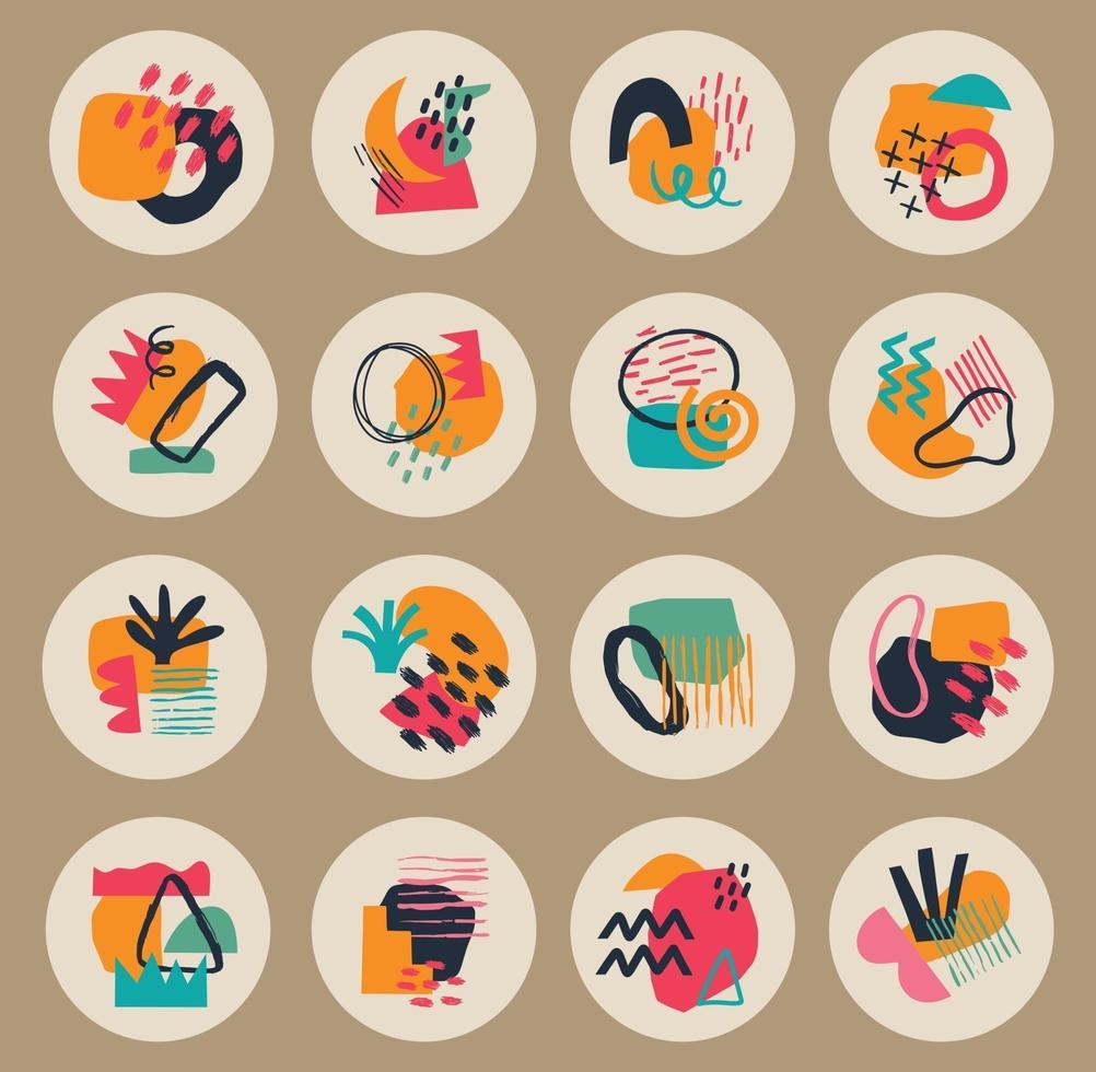 grande set di varie copertine di evidenziazione geometrica vettoriale. sfondi astratti. varie forme, linee, macchie, punti, oggetti scarabocchio. modelli disegnati a mano. icone rotonde per storie sui social media vettore