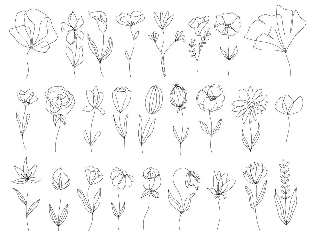 set di elementi floreali disegnati a mano doodle vettoriale. elementi di decorazione per invito design, carte di nozze, San Valentino, biglietti di auguri vettore