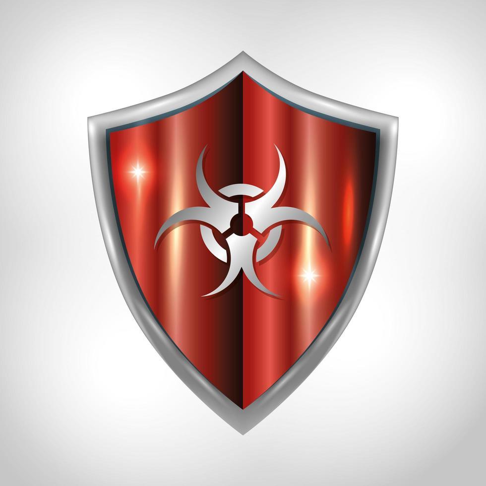 simbolo di rischio biologico su uno sfondo di campagna scudo protettivo vettore