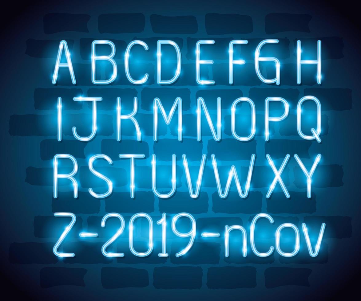 alfabeto con luce al neon ncov 2019 vettore