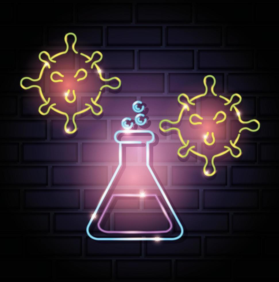 icona di coronavirus luce al neon con provetta vettore