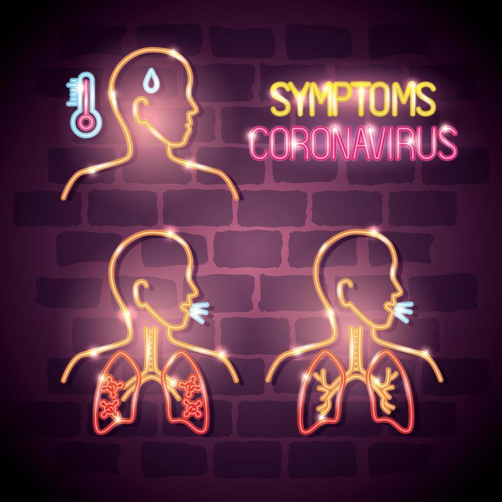 corpi con sintomi di luce al neon del coronavirus vettore