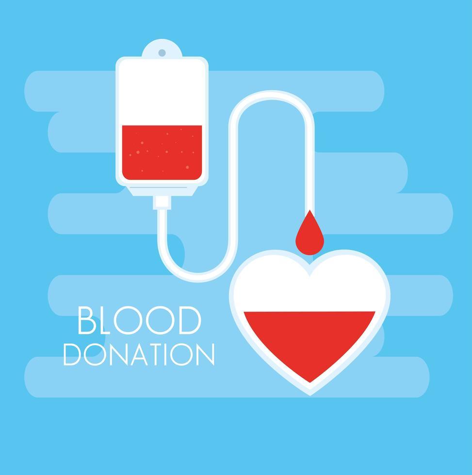 donazione sacca di sangue con il cuore vettore