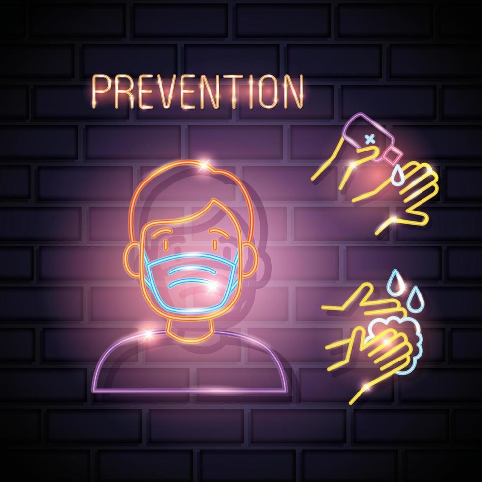 coronavirus a luce al neon con icone di prevenzione vettore