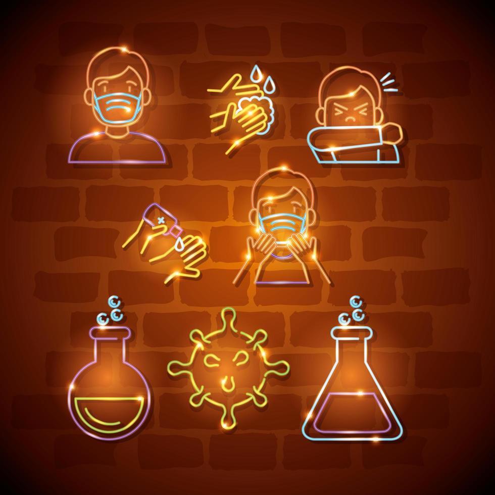 set di icone di coronavirus luce al neon vettore