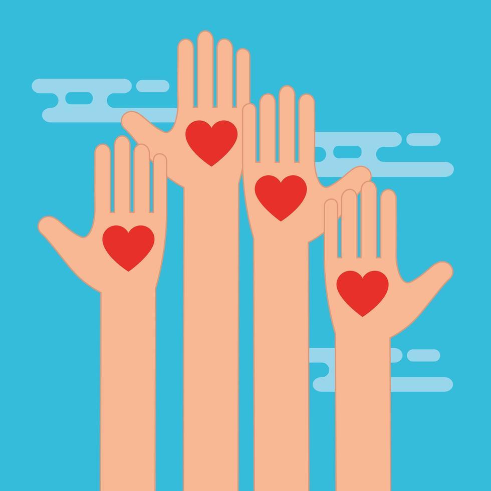 mani con il simbolo dei cuori per beneficenza e donazione vettore