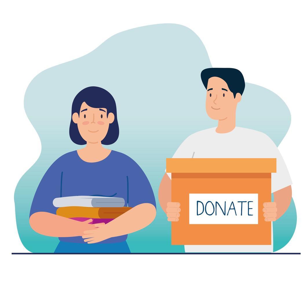 coppia con scatola per beneficenza e donazione vettore