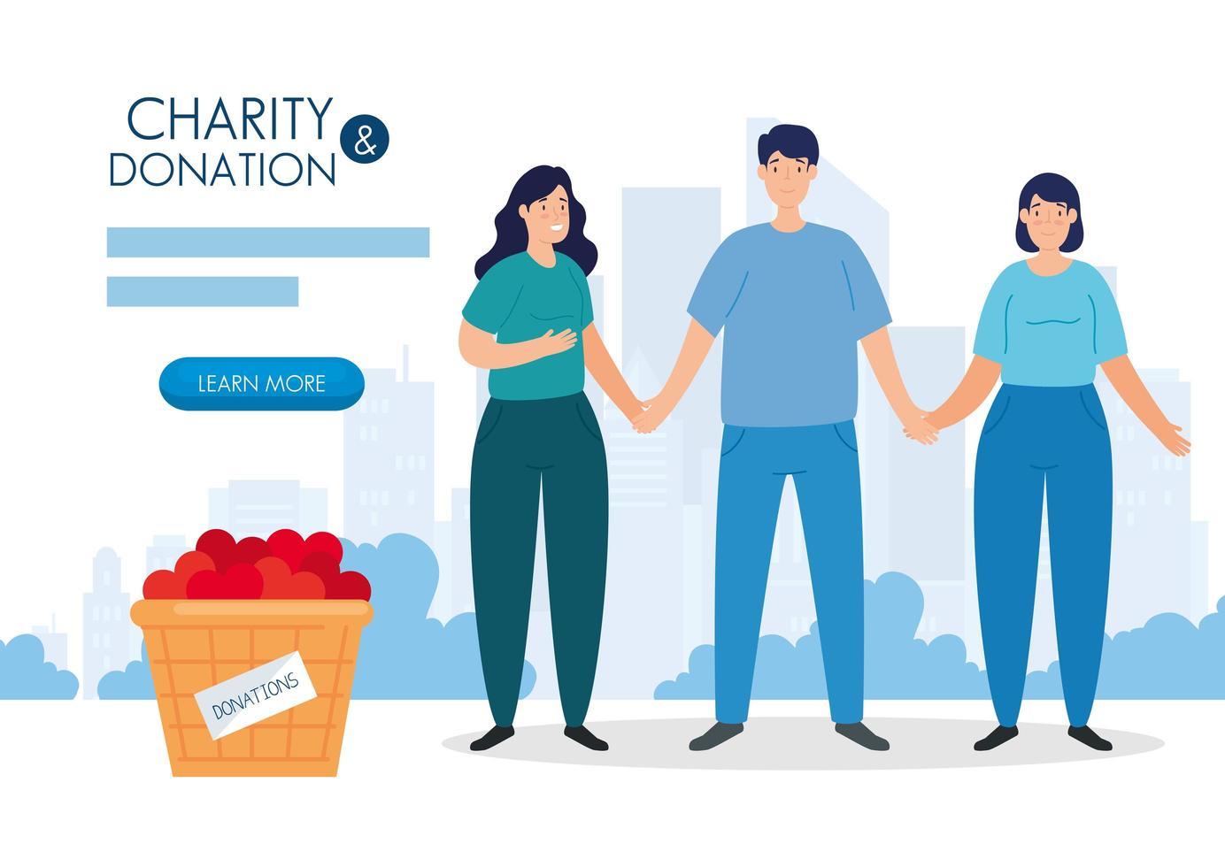 persone con cesto per beneficenza e donazione vettore