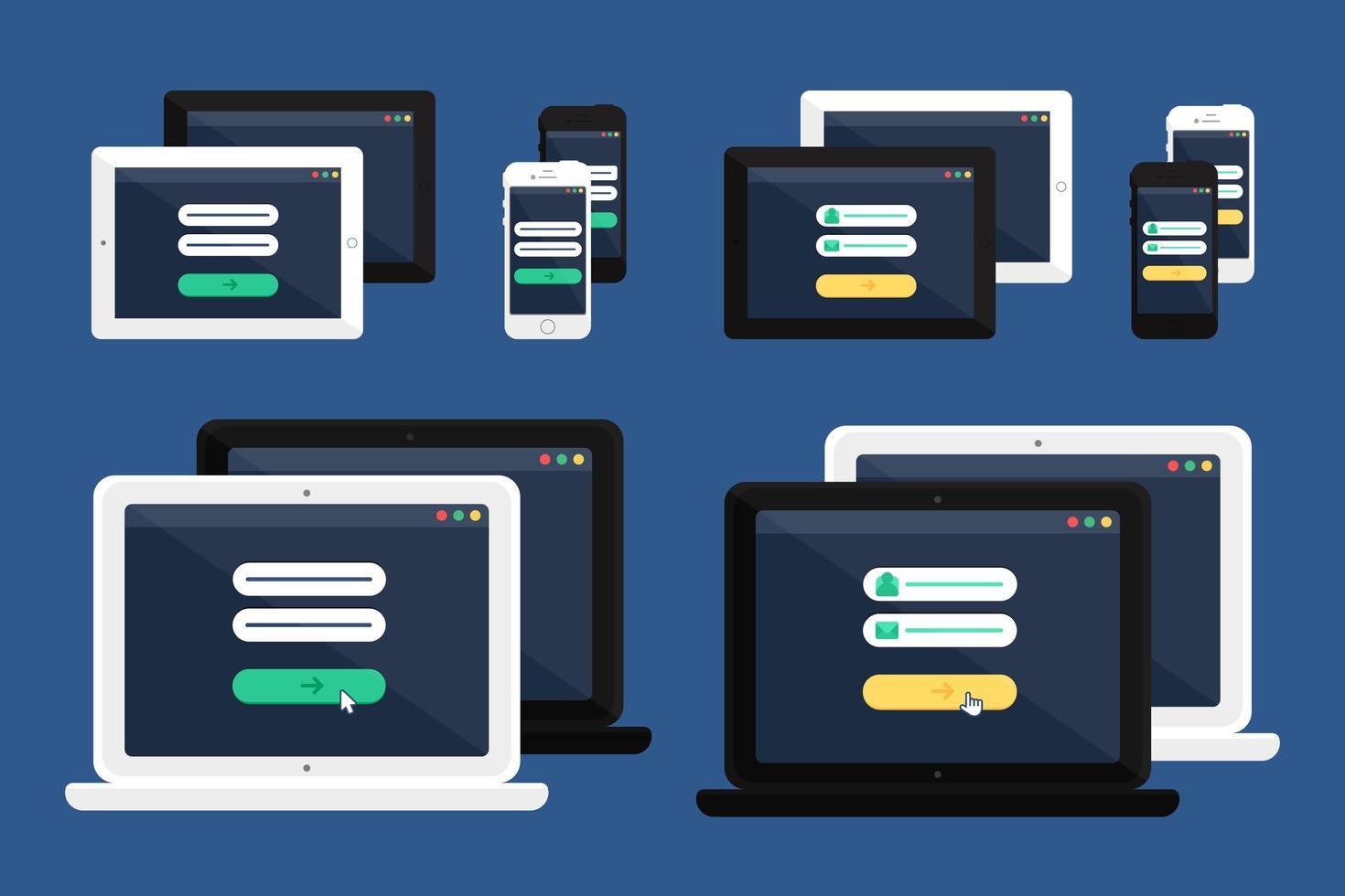 modello web del modulo di accesso online adattivo vettore