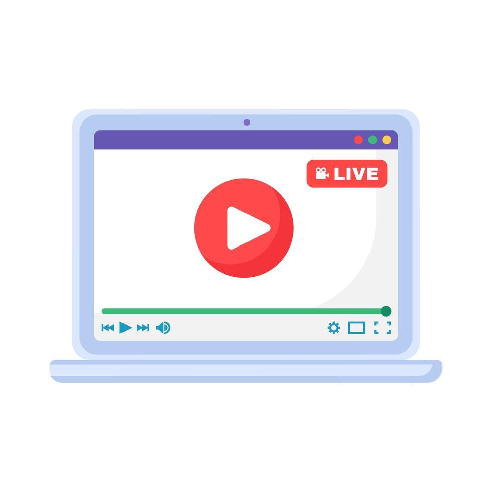 pulsante di riproduzione live streaming sullo schermo del laptop, icona dell'app del dispositivo vettore
