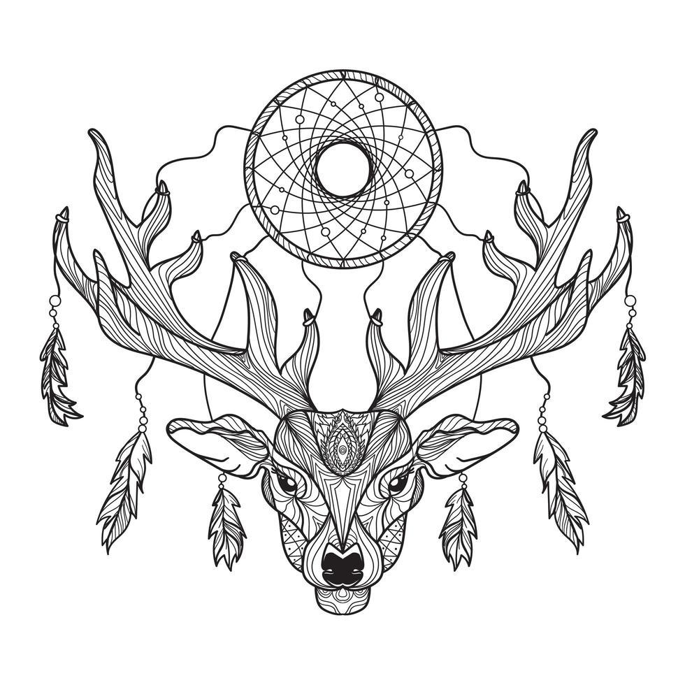 testa di cervo con corna e acchiappasogni vettore