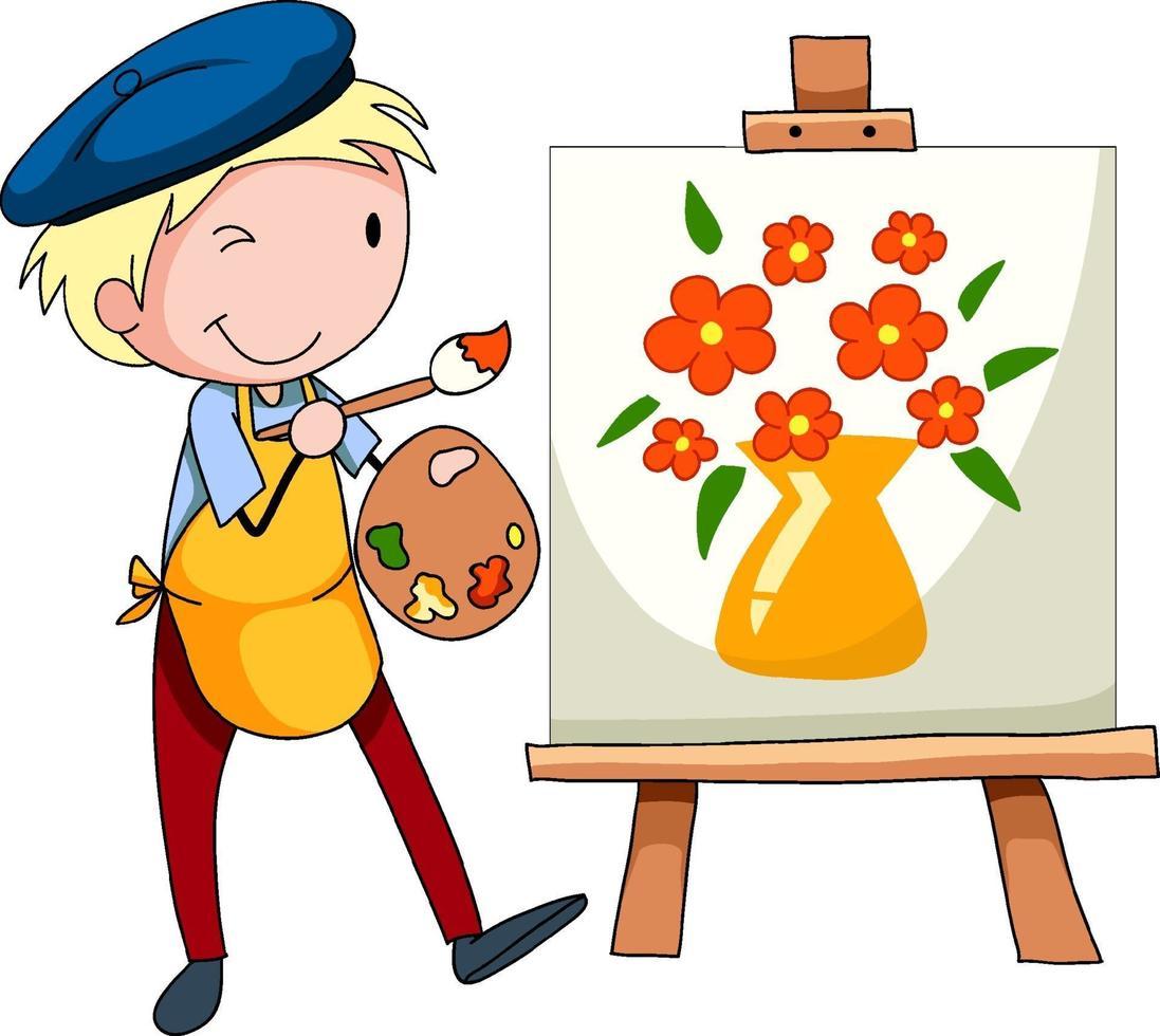 un ragazzo artista che disegna il personaggio dei cartoni animati dell'immagine vettore