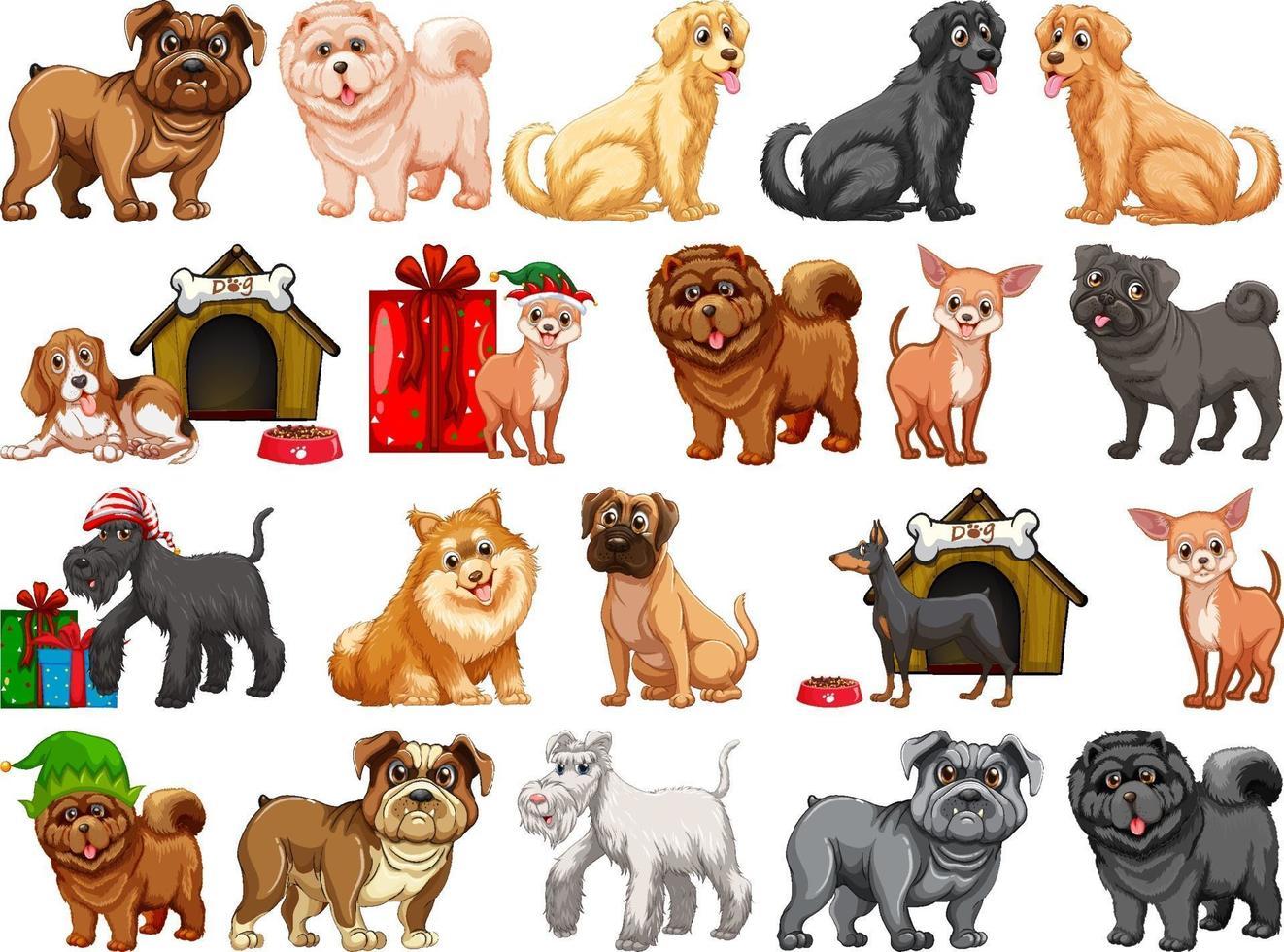 diversi cani divertenti nello stile del fumetto isolato su priorità bassa bianca vettore